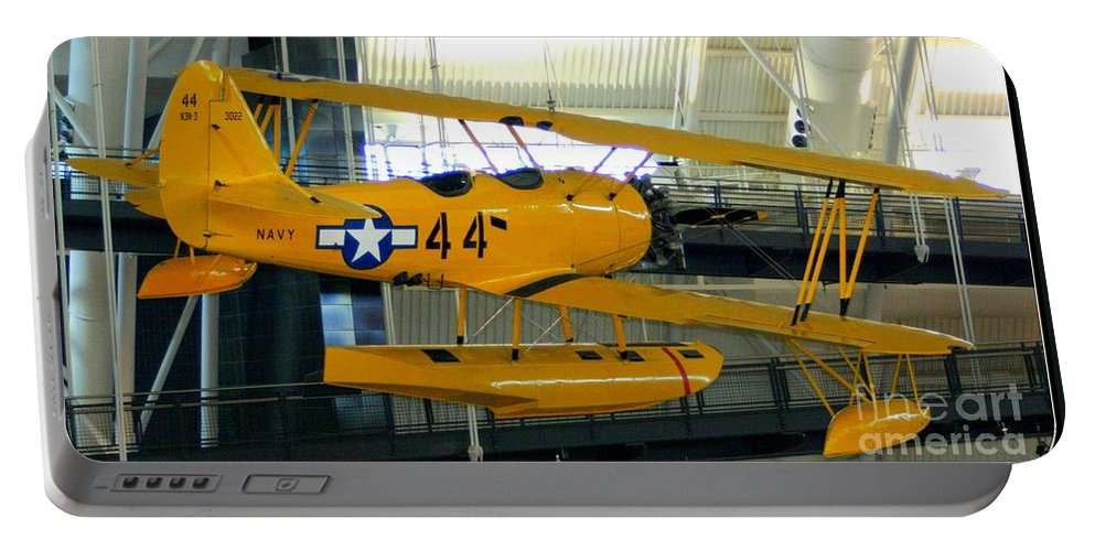 U.s. Navy Yellow Peril Float Plane Portable Battery Charger featuring the photograph U.s. Navy Yellow Peril Float Biplane by Patti Whitten