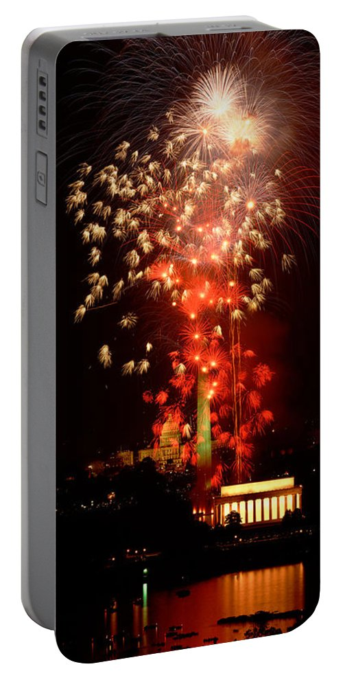 Vertical Portable Battery Charger featuring the photograph Usa, Washington Dc, Fireworks by Panoramic Images