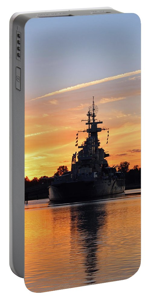 Wilmington Portable Battery Charger featuring the photograph Uss Battleship by Cynthia Guinn