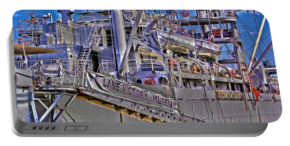 Uss Lane Victory Portable Battery Charger featuring the photograph Uss Lane Victory by Richard J Cassato