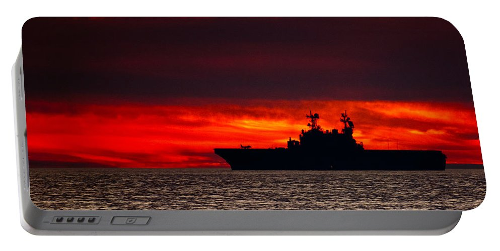 Uss Makin Island (lhd-8) Portable Battery Charger featuring the photograph Uss Makin Island At Sunset by Alex Snay