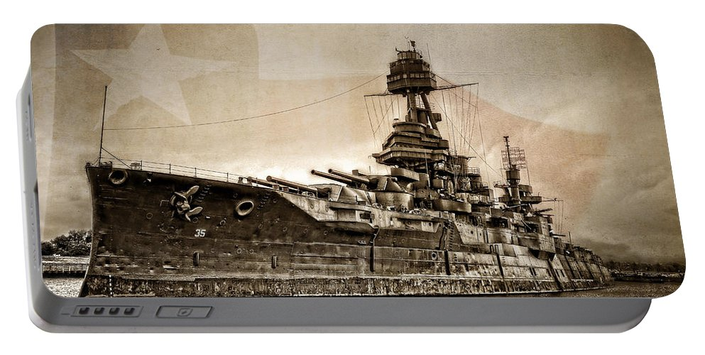 Battleship Portable Battery Charger featuring the photograph U.s.s. Texas by Ken Smith