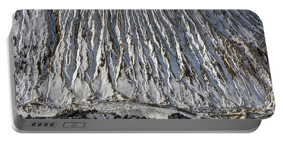 Utah Portable Battery Charger featuring the photograph Utah Copper Mine Tailings Pile In Winter by Gary Whitton