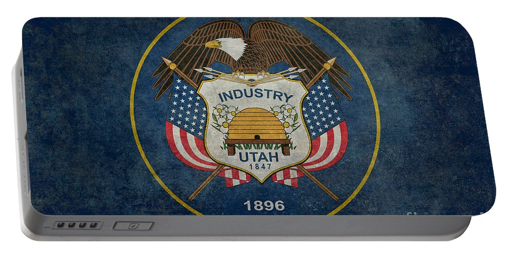 Utah Portable Battery Charger featuring the digital art Utah State Flag Vintage Version by Bruce Stanfield