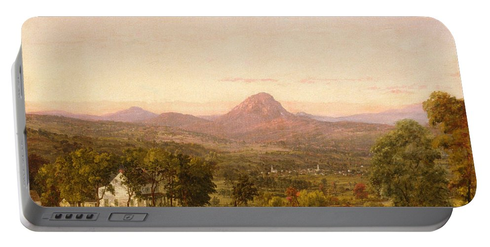 Jasper Francis Cropsey Portable Battery Charger featuring the painting Autumn Landscape Sugar Loaf Mountain. Orange County New York by Jasper Francis Cropsey