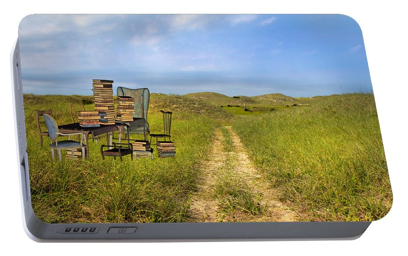 Beach Portable Battery Charger featuring the mixed media Vacancy by Betsy Knapp