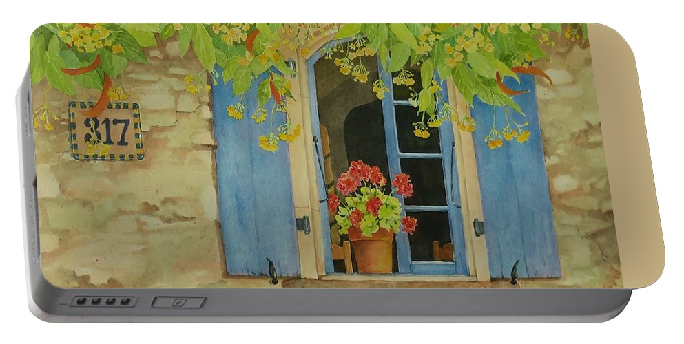 France Portable Battery Charger featuring the painting Vacation Memory by Mary Ellen Mueller Legault