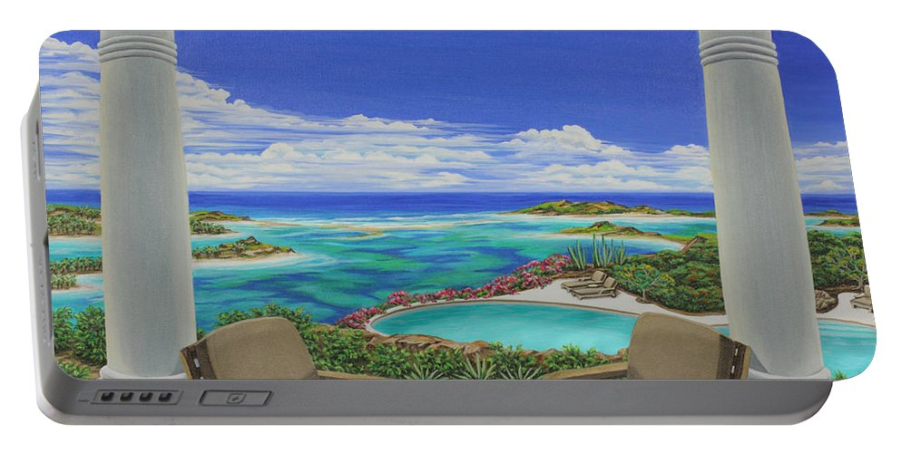 Ocean Portable Battery Charger featuring the painting Vacation View by Jane Girardot