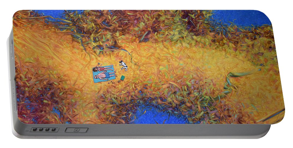 Vacation Portable Battery Charger featuring the painting Vacationing On A Painting by James W Johnson