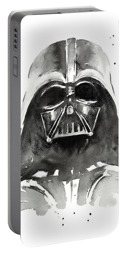 Watercolor Portable Battery Charger featuring the painting Darth Vader Watercolor by Olga Shvartsur