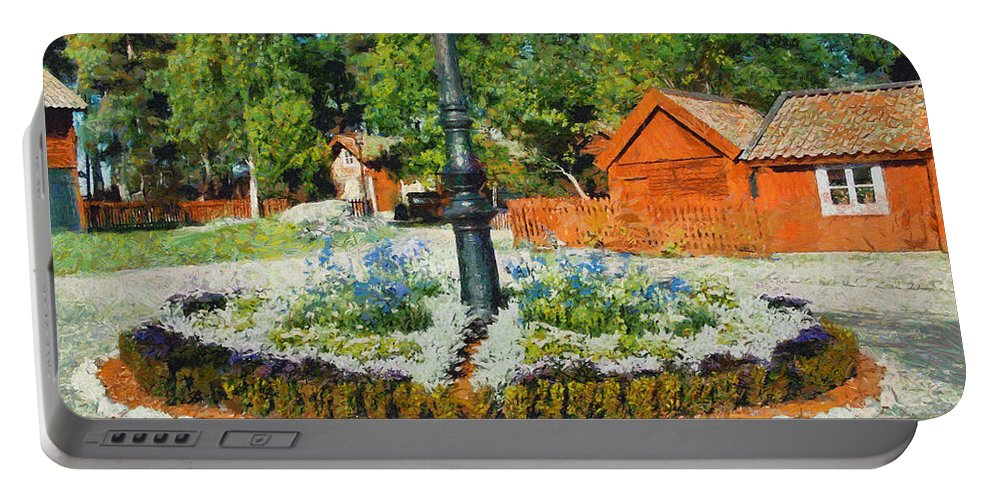 Valby Portable Battery Charger featuring the painting Valby Square by Carlos Vieira