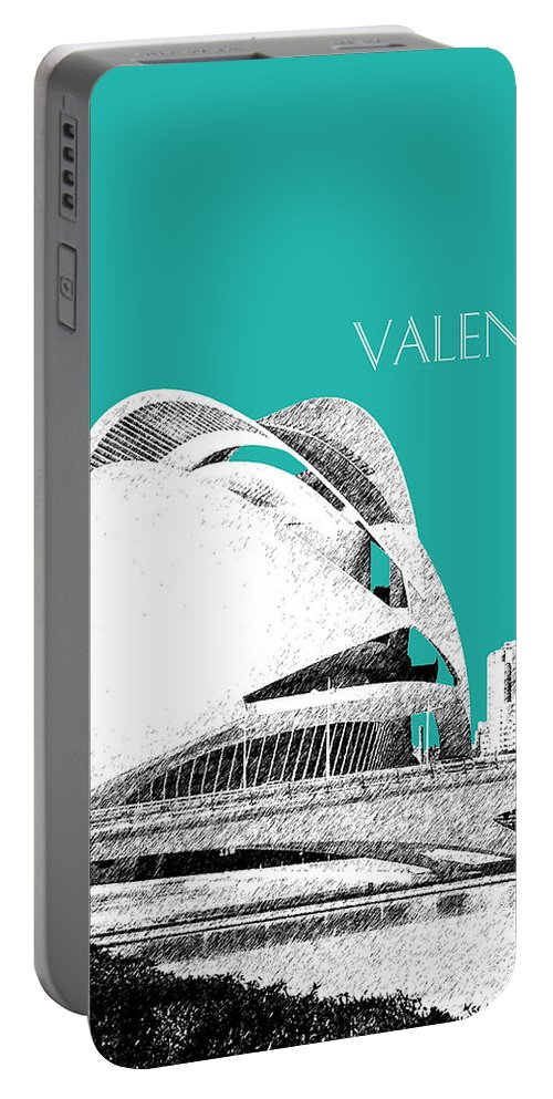 Architecture Portable Battery Charger featuring the digital art Valencia Skyline City Of Arts And Sciences - Aqua by DB Artist