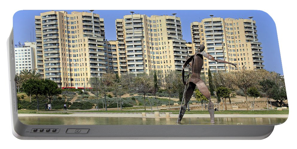 Valencia Spain Statue Tower Blocks Apartments Lake Spanish City Portable Battery Charger featuring the photograph Valencia Spain by Julia Gavin