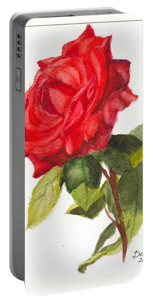Valentine Portable Battery Charger featuring the painting Valentine Rose by Dai Wynn