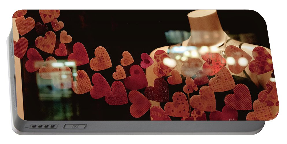 Valentine Portable Battery Charger featuring the photograph Valentine Window Display by Cheryl Baxter