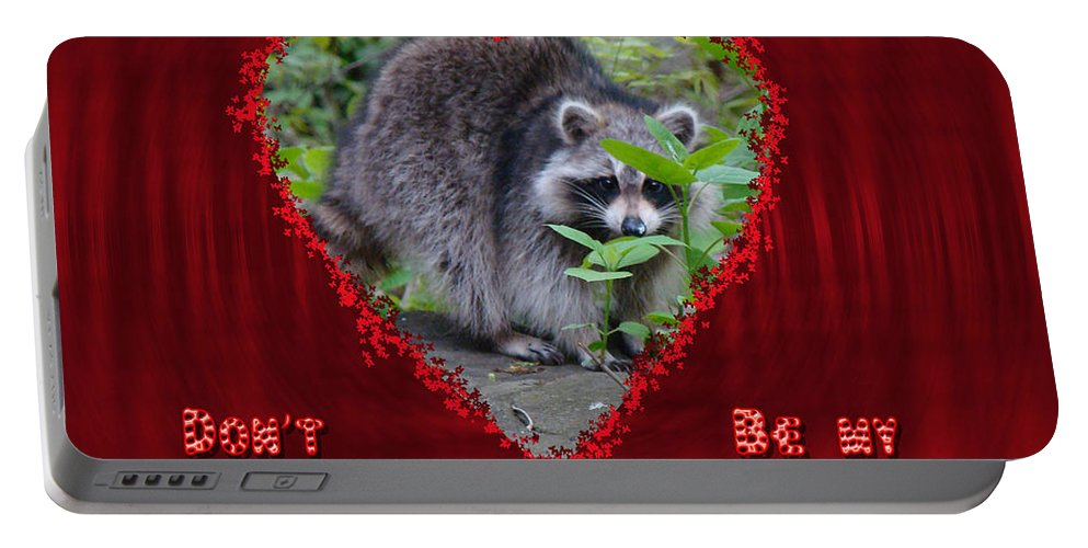 Valentine Portable Battery Charger featuring the photograph Valentine's Day Greeting Card - Raccoon by Mother Nature