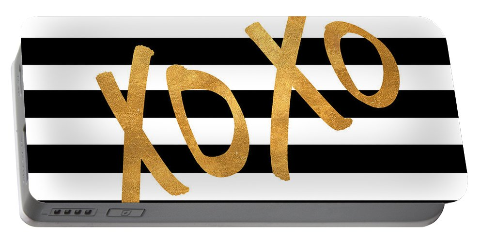 Valentines Portable Battery Charger featuring the digital art Valentines Stripes IIi by South Social Studio