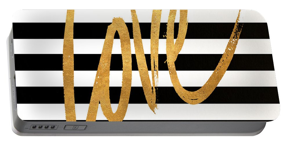 Valentines Portable Battery Charger featuring the digital art Valentines Stripes Iv by South Social Graphics