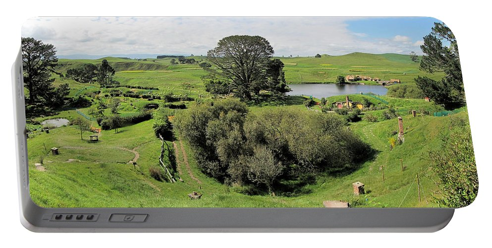 Hobbiton Portable Battery Charger featuring the photograph Valley At Hobbiton Nz by C H Apperson