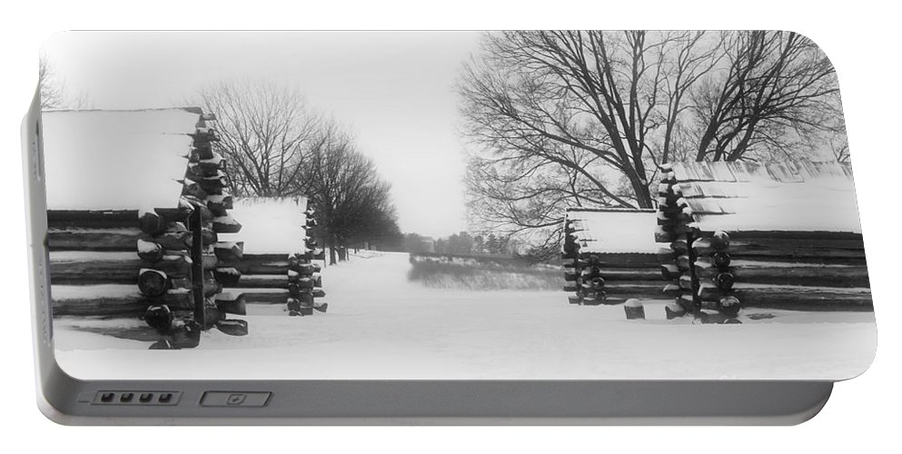 Cabin Portable Battery Charger featuring the photograph Valley Forge Cabins In Snow by Traci Law