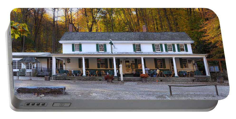 Valley Portable Battery Charger featuring the photograph Valley Green Inn - Forbidden Drive by Bill Cannon
