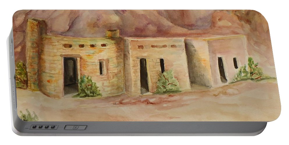 Oldest Man Made Structures In The Valley Of Fire Portable Battery Charger featuring the painting Valley Of Fire Cabins by Charme Curtin