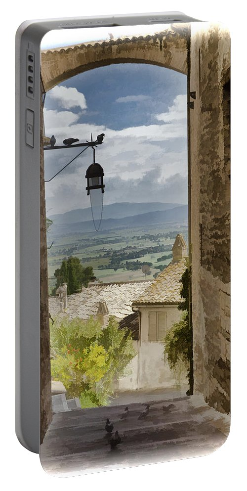 Italy Portable Battery Charger featuring the photograph Valley View - Assisi by Jon Berghoff