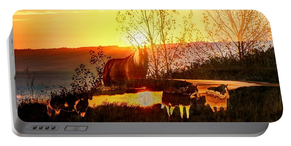 Horses Portable Battery Charger featuring the digital art Valley View Horses by Andrea Lawrence