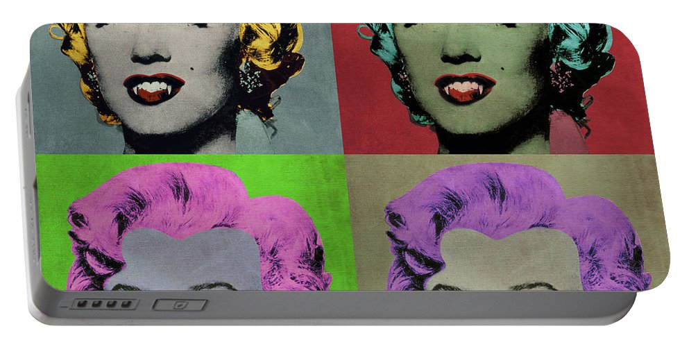 Pop Portable Battery Charger featuring the digital art Vampire Marilyn Set Of 4 by Filippo B