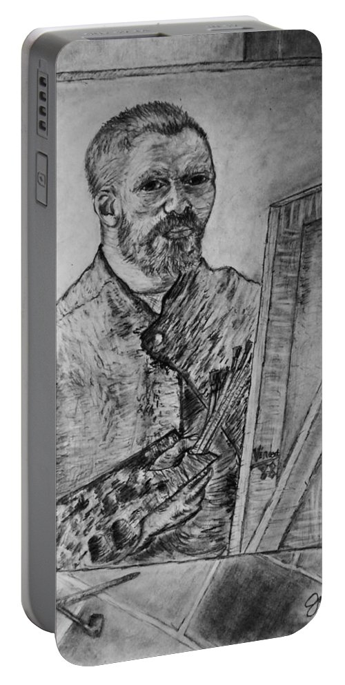 Van Goghs Self Portrait Painting Placed In His Room In Arles France Portable Battery Charger featuring the drawing Van Goghs Self Portrait Painting Placed In His Room In Arles France by Jose A Gonzalez Jr
