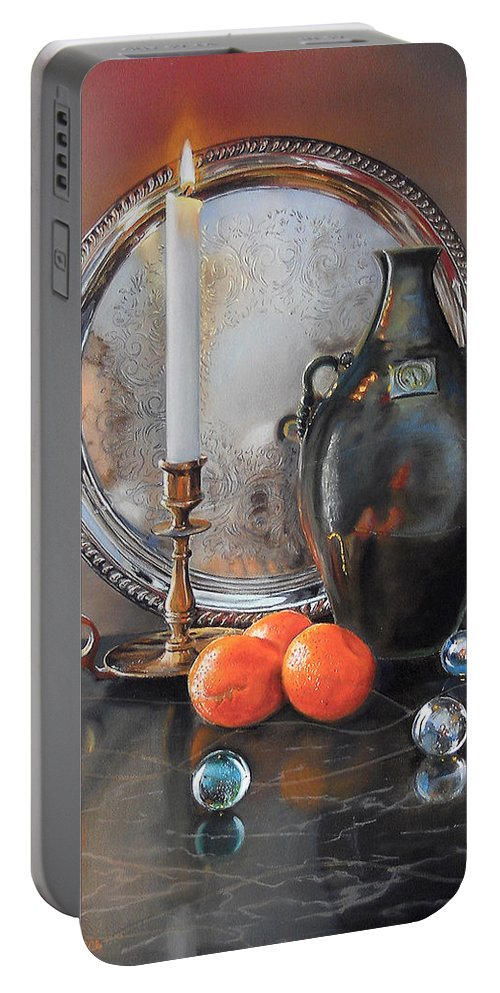 Art Portable Battery Charger featuring the painting Vanitas Still Life By Candlelight With Clementines 1 by Carolyn Coffey Wallace