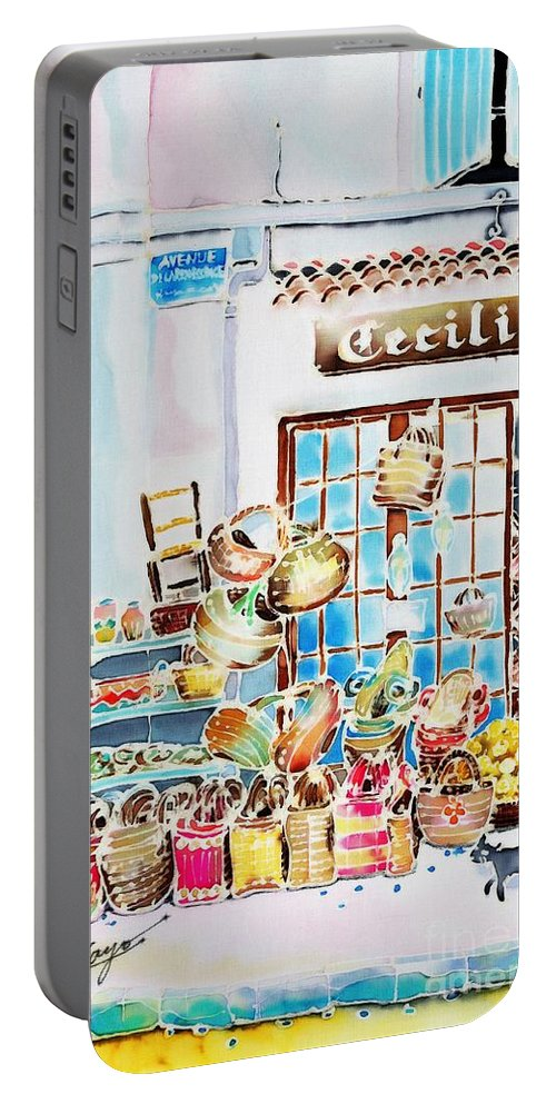 France Portable Battery Charger featuring the painting Vannerie by Hisayo Ohta