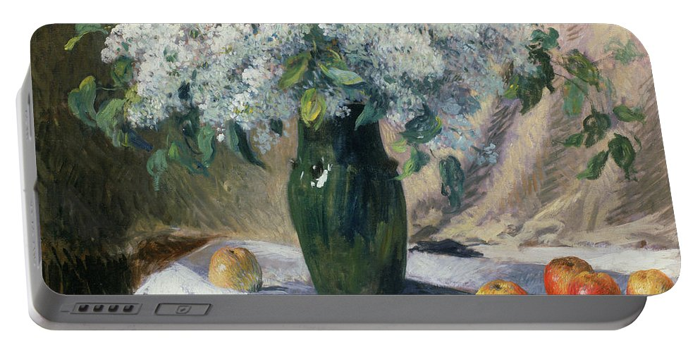 Vase De Fleurs Portable Battery Charger featuring the painting Vase Of Flowers by Henri Lerolle