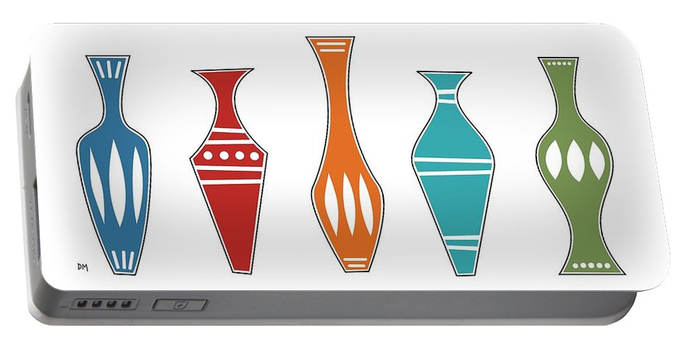 Mid Century Modern Portable Battery Charger featuring the digital art Vases by Donna Mibus