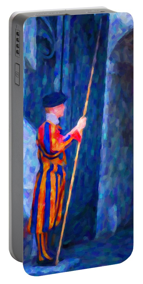 Vatican Portable Battery Charger featuring the painting Vatican Swiss Guard by Hakon Soreide