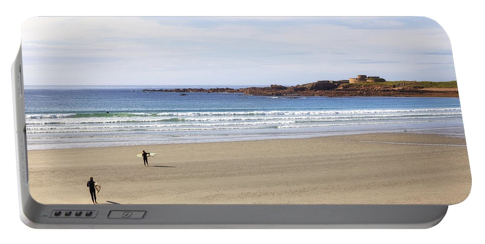 Fort Hommet Portable Battery Charger featuring the photograph Vazon Bay - Guernsey by Joana Kruse