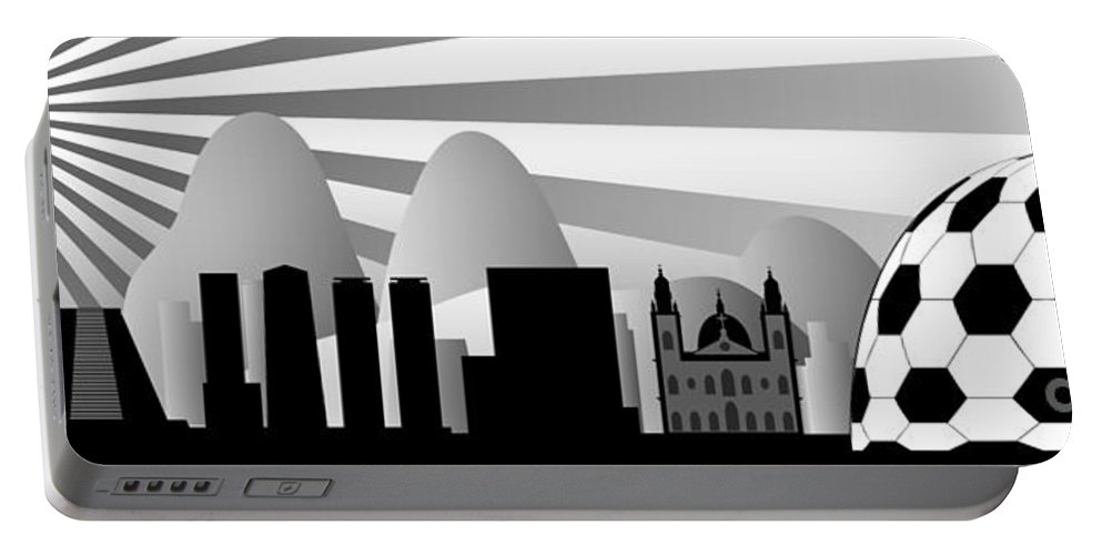 Brazil Portable Battery Charger featuring the digital art vector Rio skyline with ball by Michal Boubin