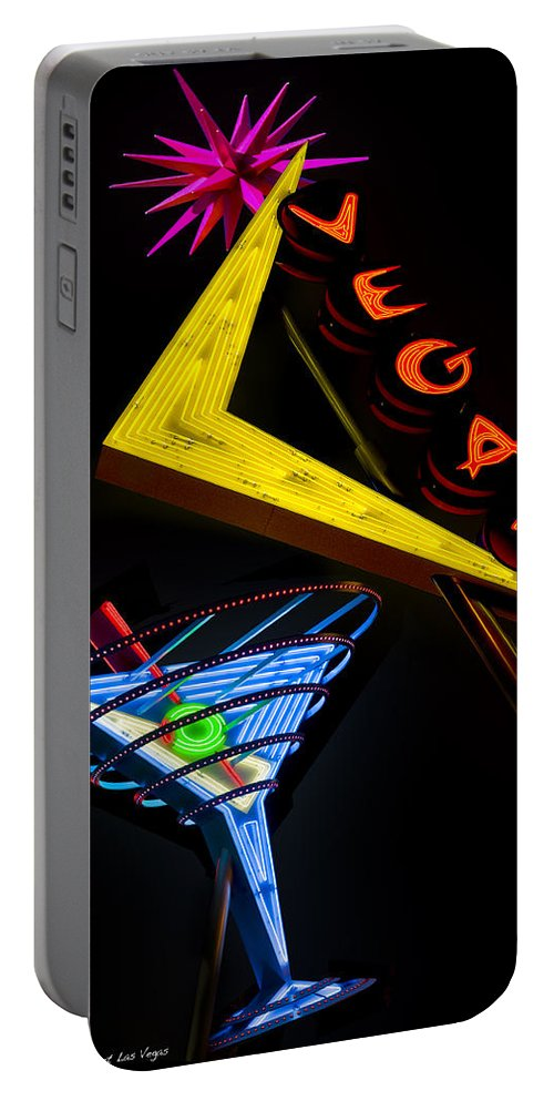 Fremont Street Portable Battery Charger featuring the photograph Vegas Martini by Gary Warnimont