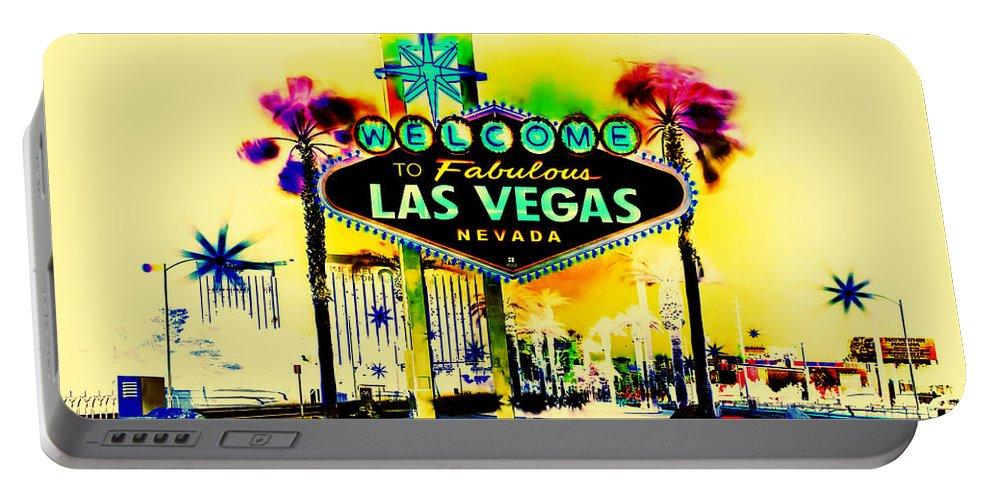 Las Vegas Portable Battery Charger featuring the digital art Vegas Weekends by Az Jackson