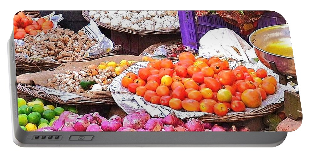 Vegetables Portable Battery Charger featuring the photograph Vegetable Vendor - Omkareshwar India by Kim Bemis