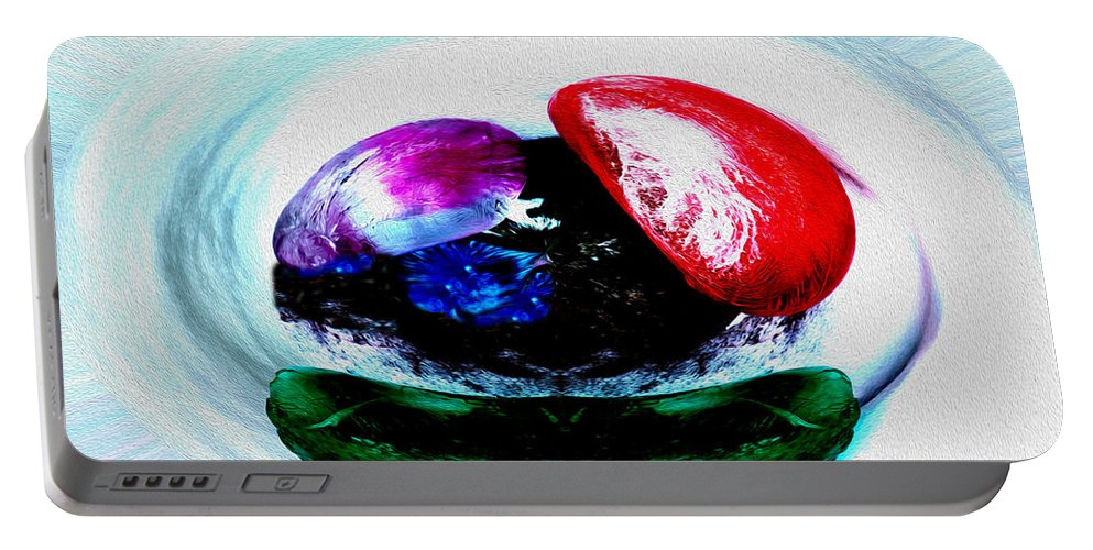 Abstract Portable Battery Charger featuring the photograph Vegetables And Gemstones by Nina Silver