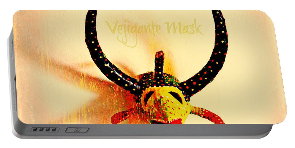 Vejigante Portable Battery Charger featuring the photograph Vejigante Mask by Lilliana Mendez