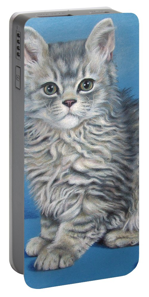 Cat Portable Battery Charger featuring the drawing Velvet Kitten by Nicole Zeug