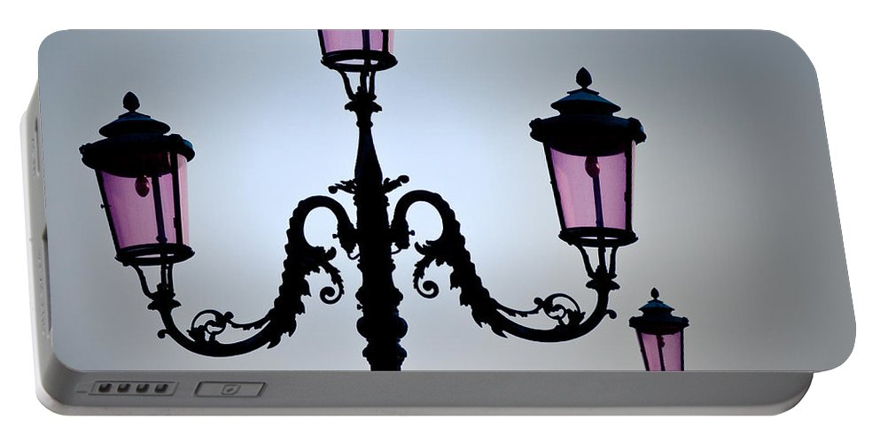 Venice Portable Battery Charger featuring the photograph Venetian Lamps by Dave Bowman
