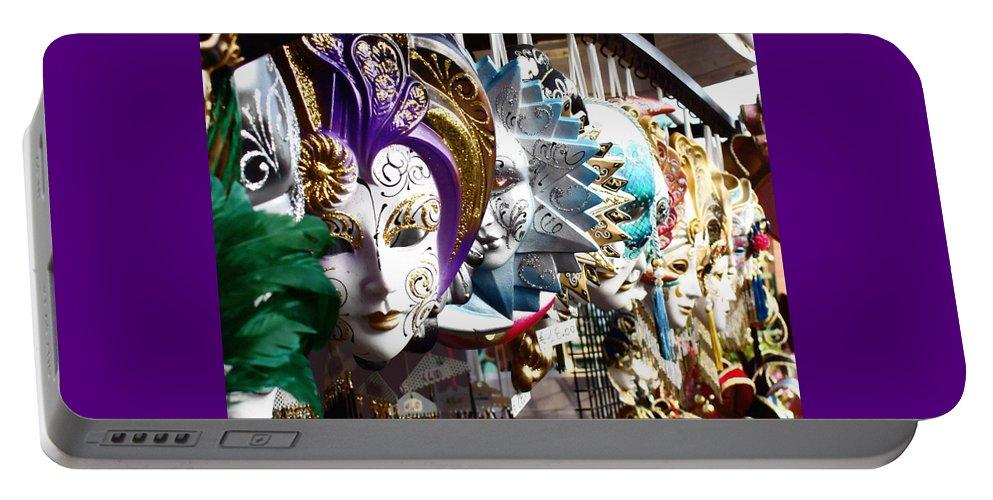 Venetian Masks Portable Battery Charger featuring the photograph Venetian Masks 1 by Ellen Henneke