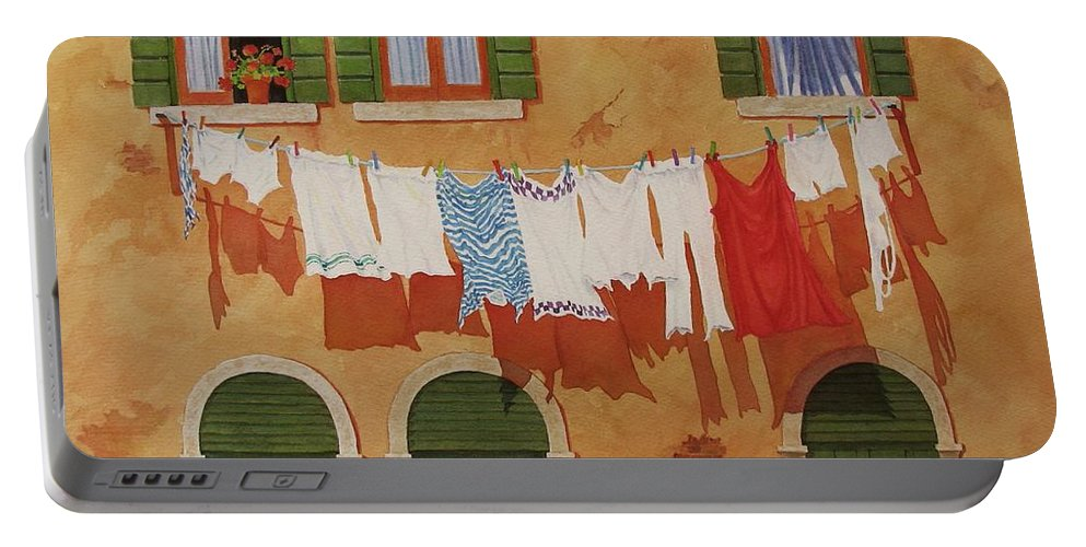 Venice Portable Battery Charger featuring the painting Venetian Washday by Mary Ellen Mueller Legault