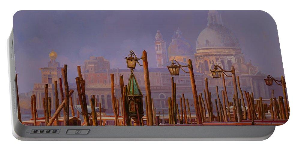 Venice Portable Battery Charger featuring the painting Venezia E La Nebbia by Guido Borelli