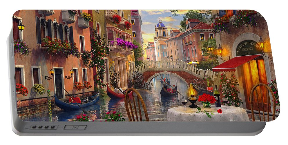 Dominic Davison Portable Battery Charger featuring the digital art Venice Al Fresco by MGL Meiklejohn Graphics Licensing