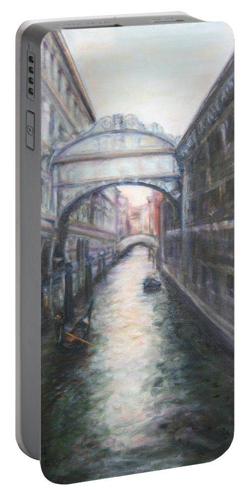Boat Portable Battery Charger featuring the painting Venice Bridge Of Sighs - Original Oil Painting by Quin Sweetman