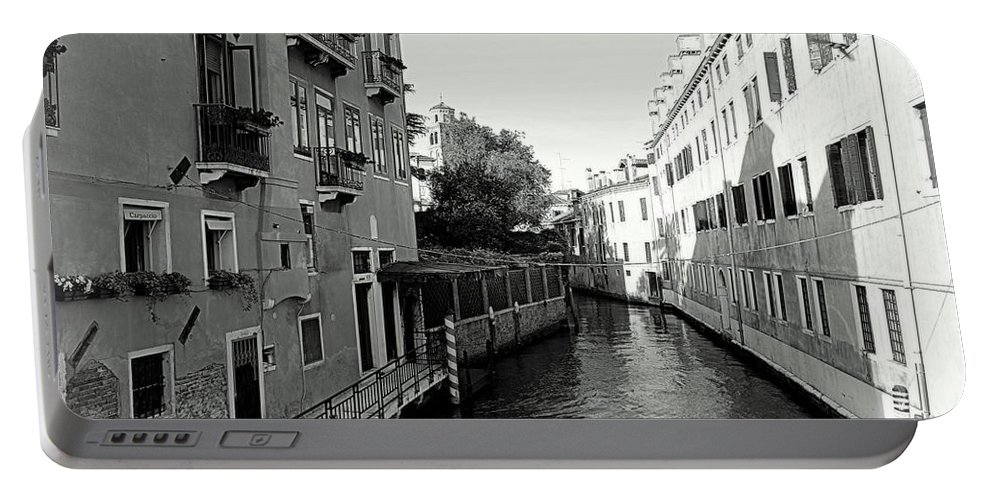 Black And White Portable Battery Charger featuring the photograph Venice Canal by Valentino Visentini